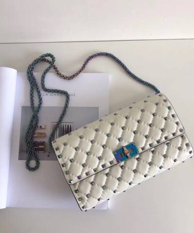 Клатч Valentino Rockstud Spike Cross Body Bag White